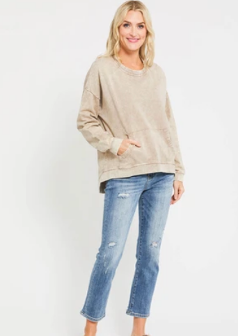 RD Style High-Low Sweatshirt | Tan Acid Wash