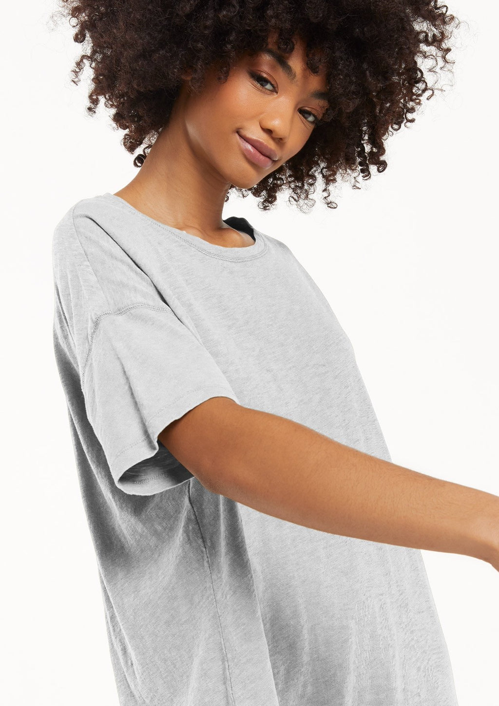 Z Supply Delta Slub T-Shirt Dress | Heather Grey