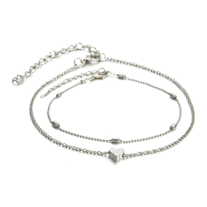 Bella Beaded Heart Anklet - Silver