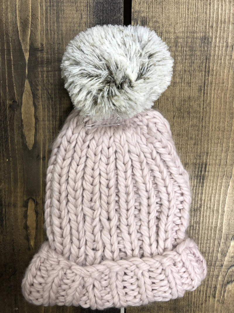 Lemon Winter Cabin Hat With Pom Pom - Blush