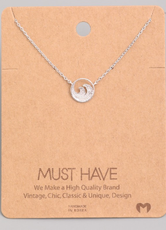 Tidal Wave Charm Necklace | Silver