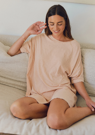 Z Supply Delta Slub T-Shirt Dress | Soft Peach