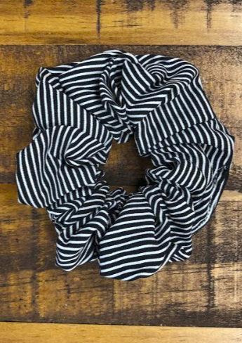 Striped Scrunchie - Black