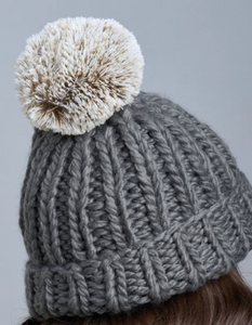 Lemon Winter Cabin Hat With Pom Pom - Dark Grey