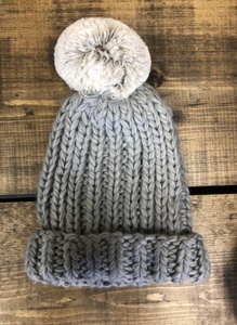 Lemon Winter Cabin Hat With Pom Pom - Light Oxford