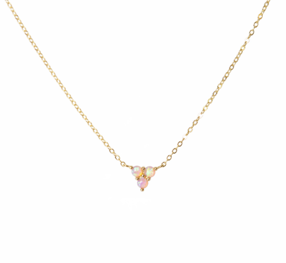 PARK AND BUZZ Mermaid Triangle Opal Necklace | Gold and Pink Opal
