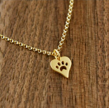 Load image into Gallery viewer, Bella Paw Print Heart Necklace