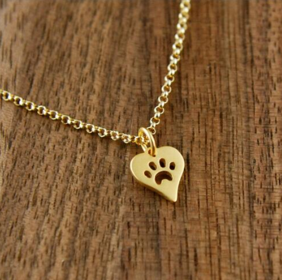Bella Paw Print Heart Necklace