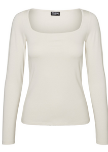 Noisy May Ena Long Sleeve Top | White