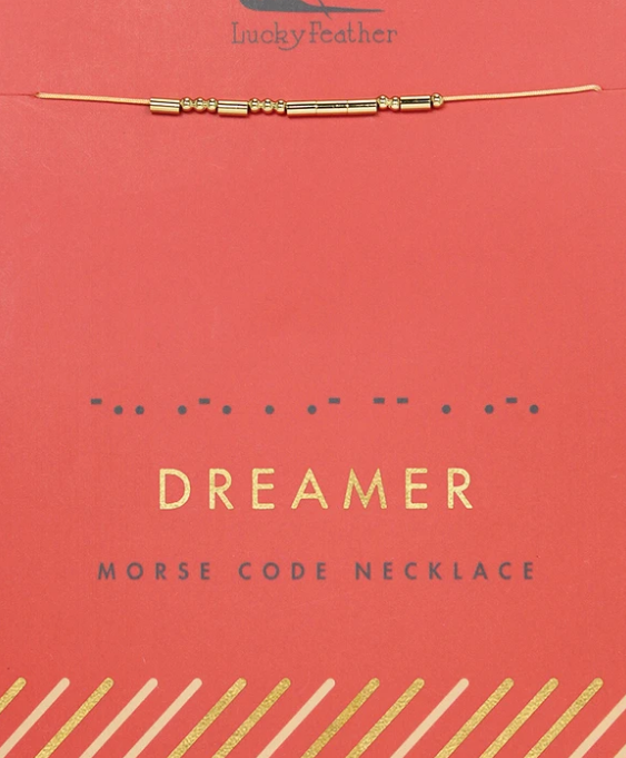 Lucky Feather Morse Code Necklace Gold | Dreamer