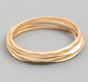 Matte Multi Bangle Bracelet Set - Matte Gold