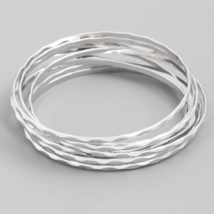 Thin Bangle Bracelet Set - Silver