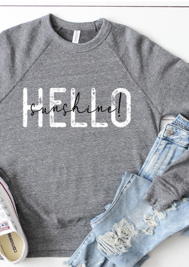 Kissed Apparel Hello Sunshine Crew | Heather Grey