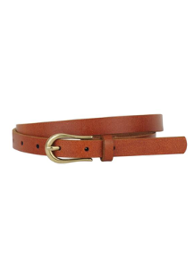 MW Basic Skinny Belt with Simple Equestrian Buckle | Tan