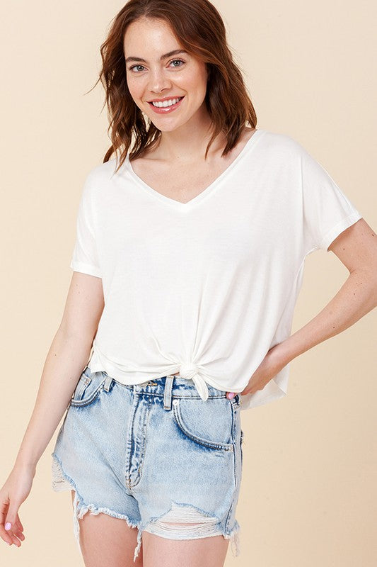Double Zero- V-Neck Shortsleeve Crop Top w/ Knot