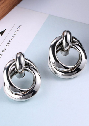 Bella Double Trouble Hoop Earring | Silver