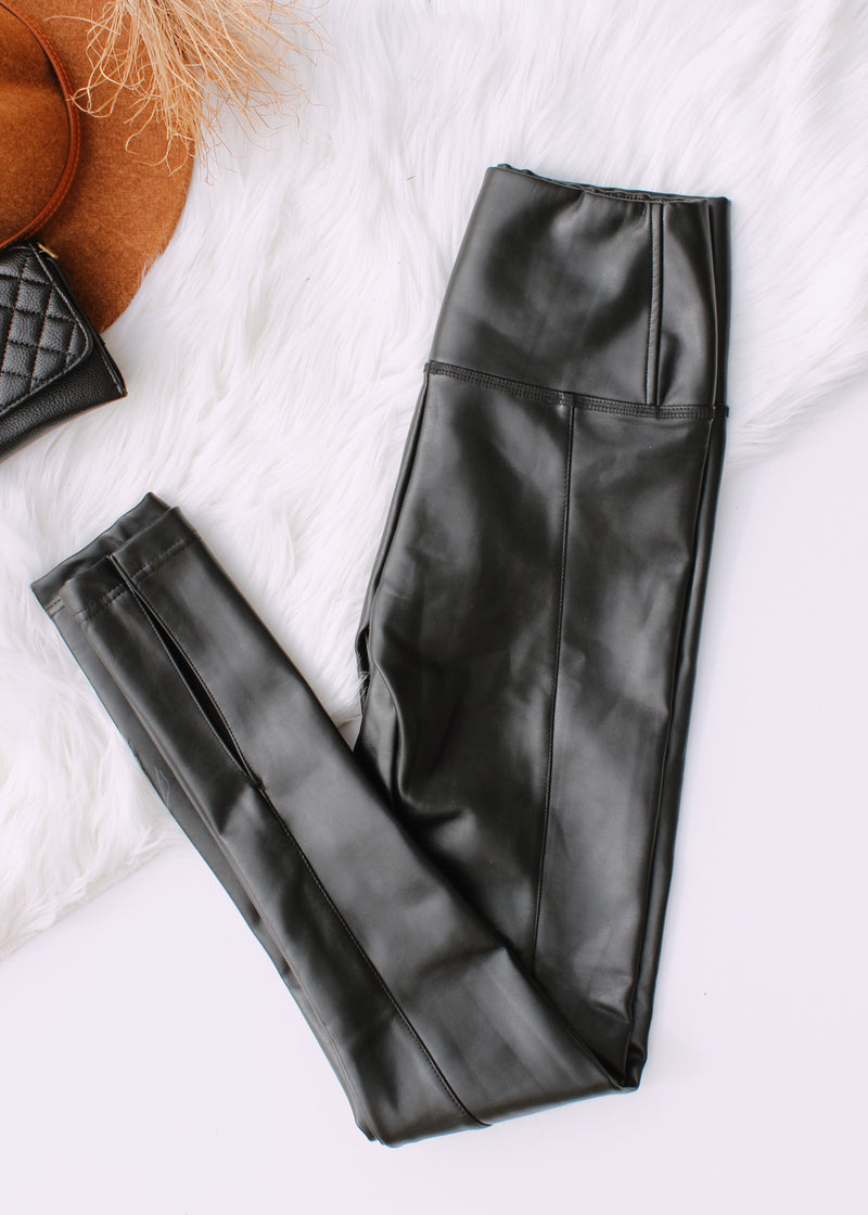 Gigi Slit Vegan Leather Leggings | Black