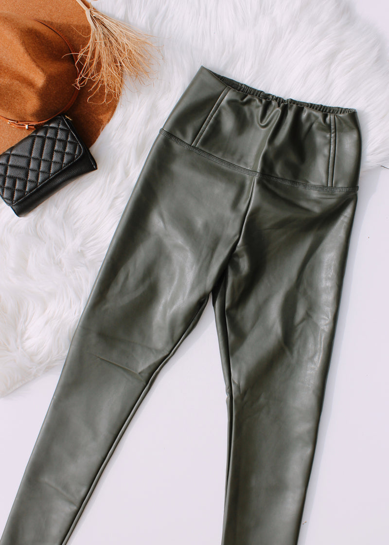 Good Karma Vegan Leather Leggings | Olive