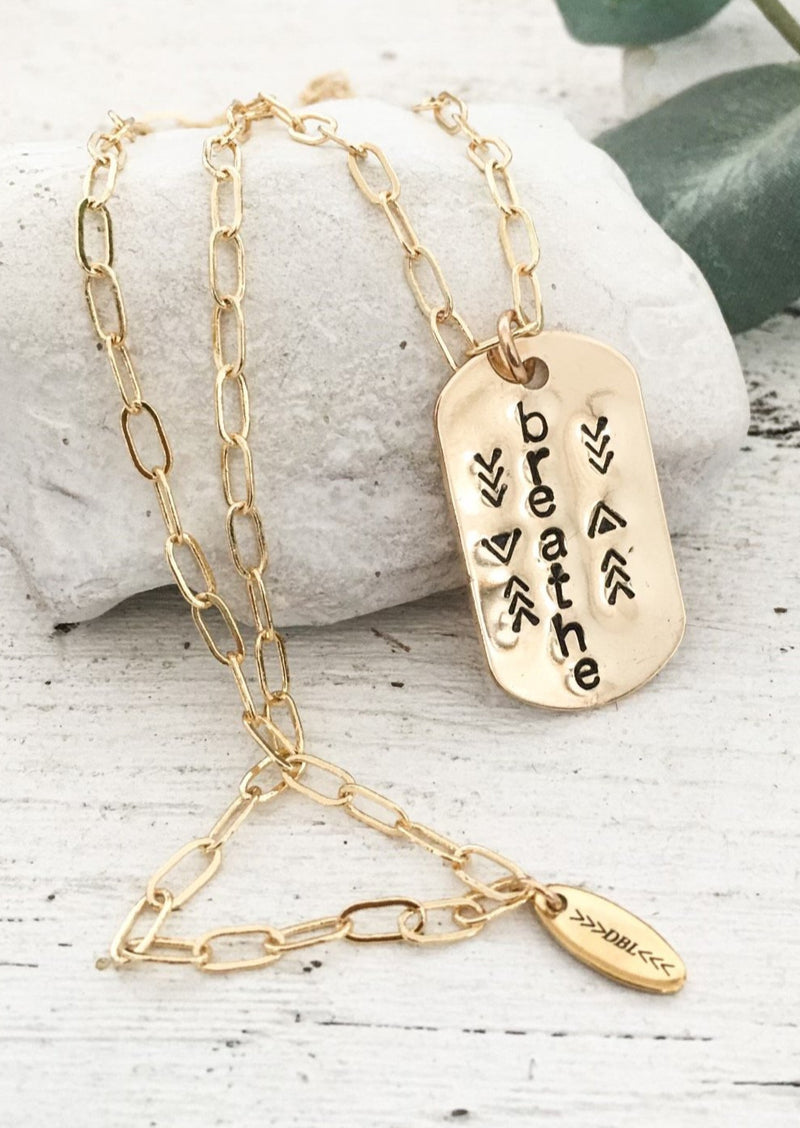 "DBL Designs Words to Live By Tag Necklace | 28"" Paper Clip Chain Chain 