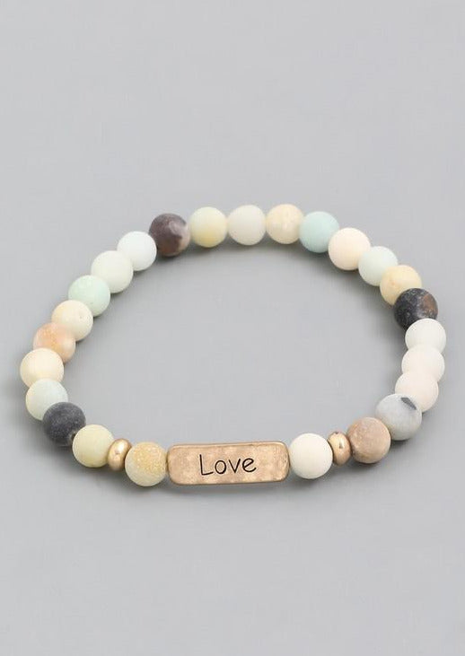 Crystal Avenue-Love Stone Bead Bracelet