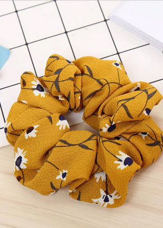 The Bohemia Flower Scrunchie | mustard