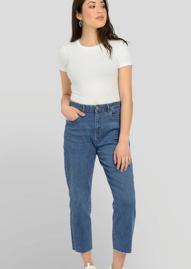 Noisy May Lizzie Slim Ankle Straight Jeans | Medium Blue Denim