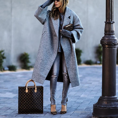 Fashion Solid Color Lapel Woolen Coat