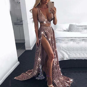 Sexy Deep V Split Gold Silk Sling Evening Dress