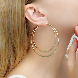 Simple temperament double ring big earrings