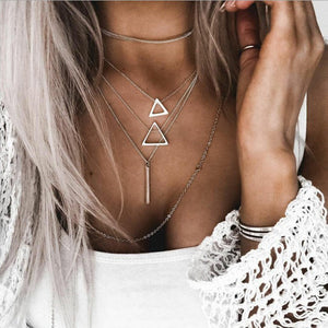 Fashion triangle pendant multilayer necklace