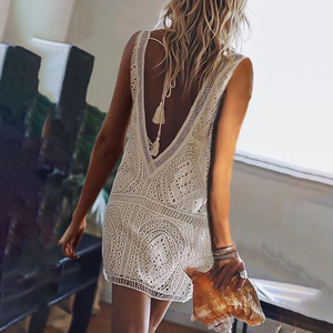 V Neck Lace Up Lace Sleeveless Casual Dresses