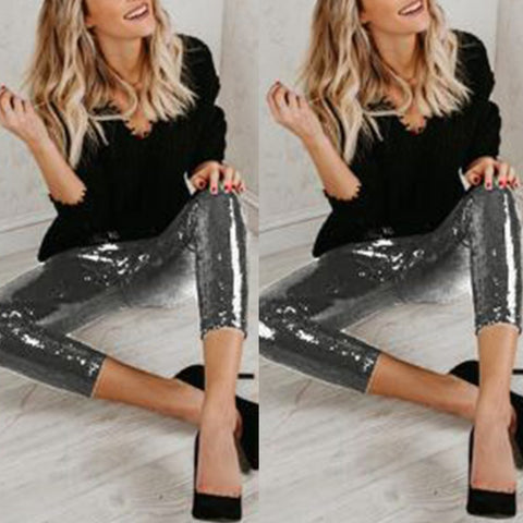 Elegant Bodycon Sequin Slim Legging Pants