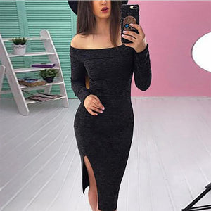 Off Shoulder  Side Slit  Bust Darts  Plain Bodycon Dresses