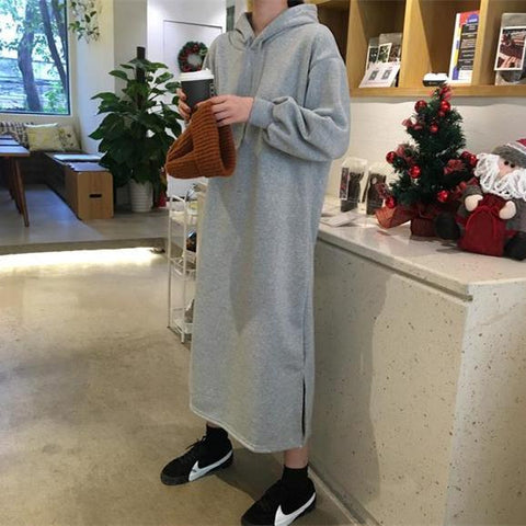 Fashion Pure Color Long Loose Hoodies Maxi Dress