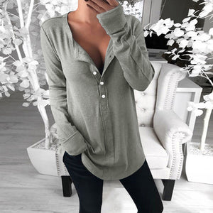 Fashion Long Sleeve V-neck Solid Color Button T-Shirt