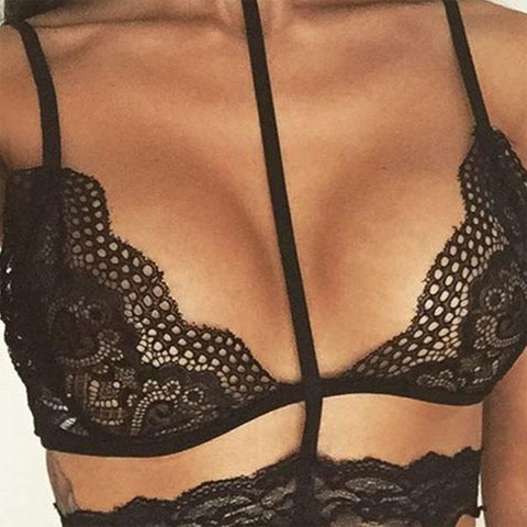 Sexy Halter Hollow Out Lace Details Lingerie