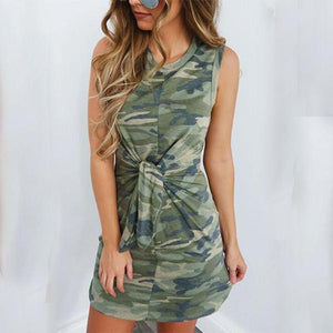 Sleeveless Round Neck Camouflage Printed Knot Bodycon Dresses