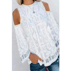 Fashion Round Neck Off-Shoulder Long Sleeve Lace Printed Colour Blosue