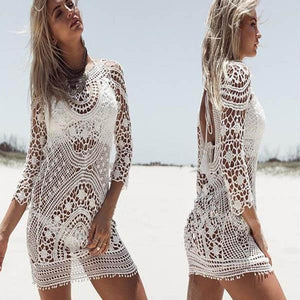 Beach Holiday Sunscreen Sexy Hollowed Lace Smock