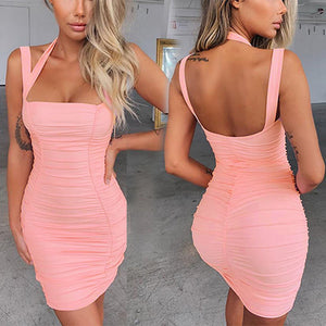 Square Neck Halter Pleated Bodycon Dresses