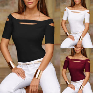 Off Shoulder Plain T-Shirt