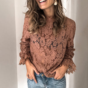 Cute Pure Colour Long Sleeve Blouse