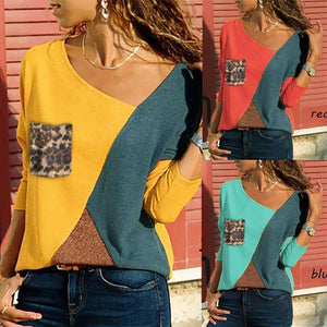 Asymmetric Neck  Patch Pocket  Color Block Leopard Long Sleeve T-Shirts