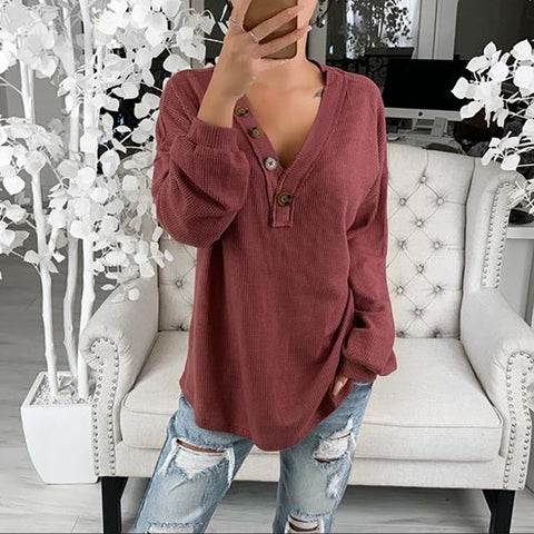 Fashion V-neck Solid Color Puff Sleeve T-shirt