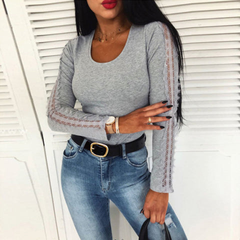 Sexy Round Neck Long Sleeve Pullover T-shirt