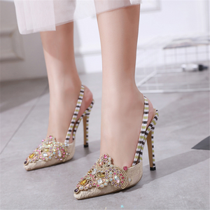 Rhinestone pointed high heel sandals