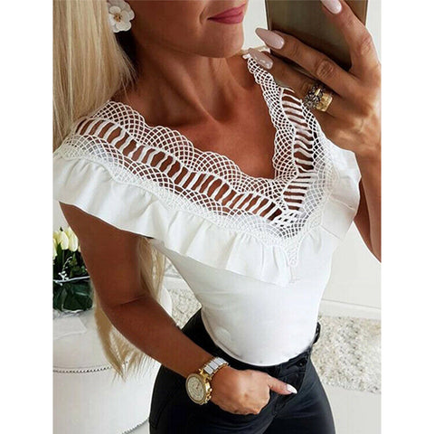V Neck Lace Patchwork Trim Camis