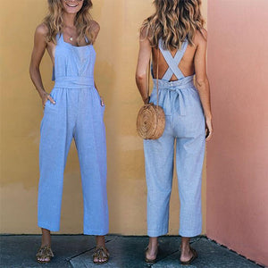Linen Cross Strap Sexy Jumpsuit