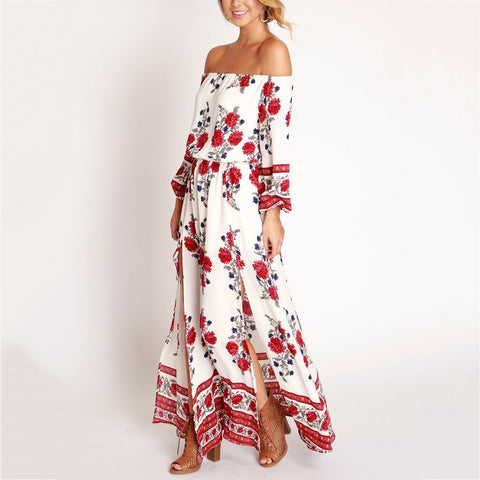 Cutaway Collar Printed Split Long Vacation Dress