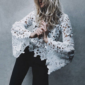Crew Neck Cutout Crochet Plain Bell Sleeve Blouses